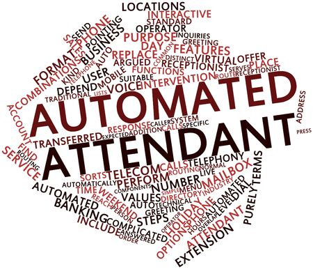 Abstract word cloud for Automated attendant with related tags and terms Stock Photo - 17024231