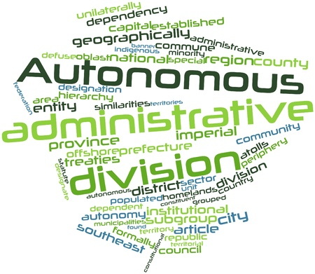 community recognition: Abstract word cloud for Autonomous administrative division with related tags and terms Stock Photo