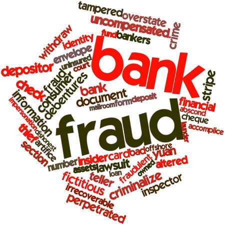 discovered: Abstract word cloud for Bank fraud with related tags and terms Stock Photo