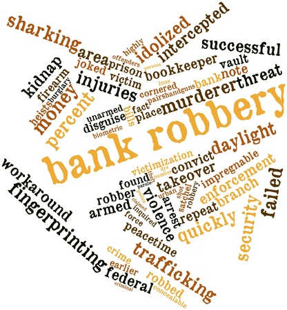 perpetrator: Abstract word cloud for Bank robbery with related tags and terms