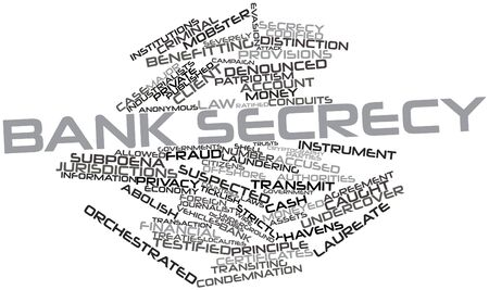 suspected: Abstract word cloud for Bank secrecy with related tags and terms Stock Photo
