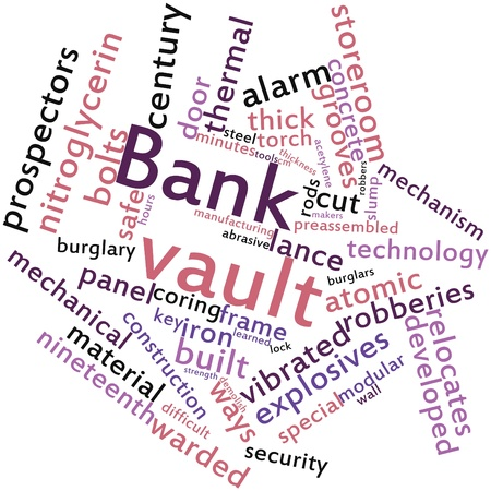 Abstract word cloud for Bank vault with related tags and terms