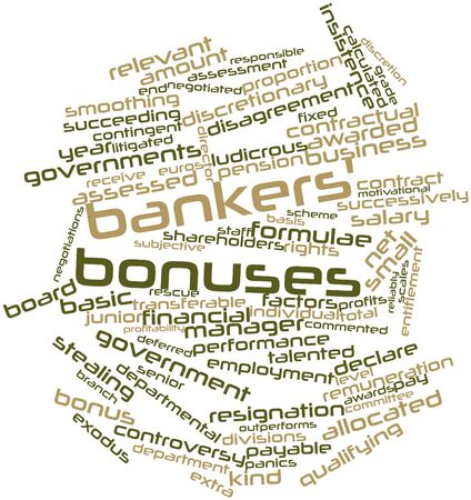 transferable: Abstract word cloud for Bankers bonuses with related tags and terms