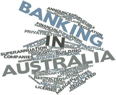 lenders: Abstract word cloud for Banking in Australia with related tags and terms Stock Photo