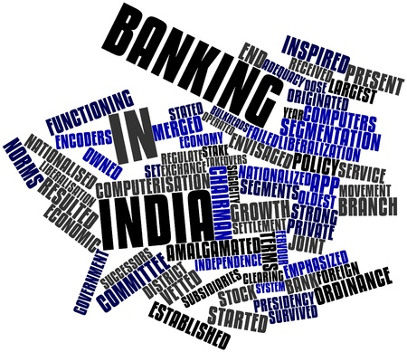 elapsed: Abstract word cloud for Banking in India with related tags and terms