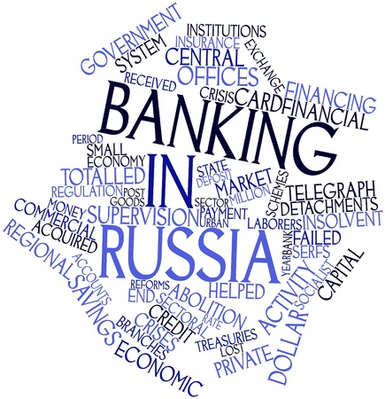 paralysis: Abstract word cloud for Banking in Russia with related tags and terms Stock Photo