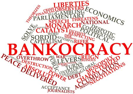 financial institutions: Abstract word cloud for Bankocracy with related tags and terms Stock Photo