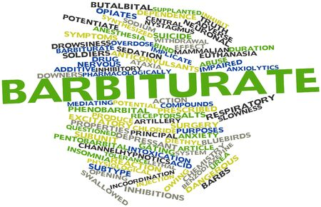 marketed: Abstract word cloud for Barbiturate with related tags and terms Stock Photo