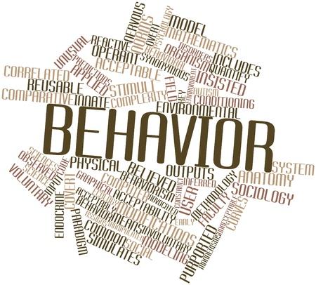 synoniem: Abstract woordwolk voor gedrag met bijbehorende labels en termen