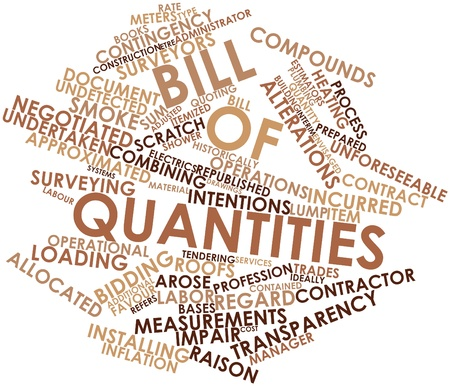 quantities: Abstract word cloud for Bill of quantities with related tags and terms