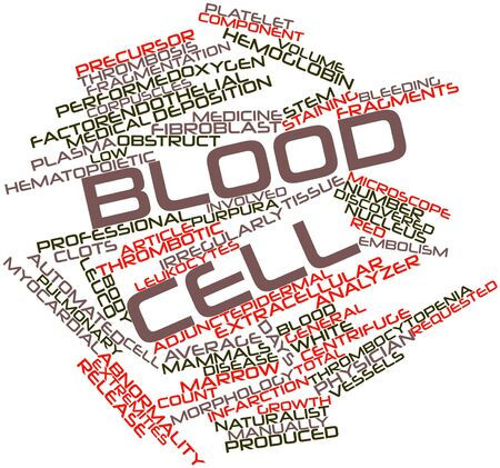 staining: Abstract word cloud for Blood cell with related tags and terms