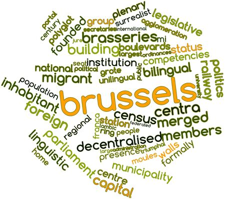 lingua: Abstract word cloud for Brussels with related tags and terms Stock Photo