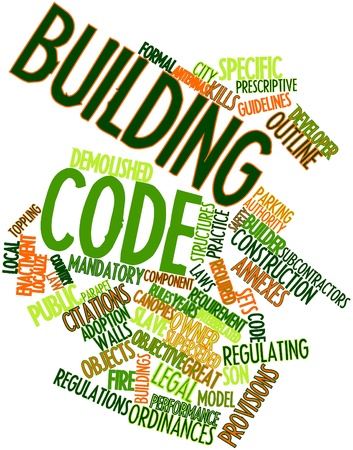 building fire: Abstract word cloud for Building code with related tags and terms