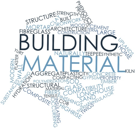 Abstract word cloud for Building material with related tags and terms Фото со стока