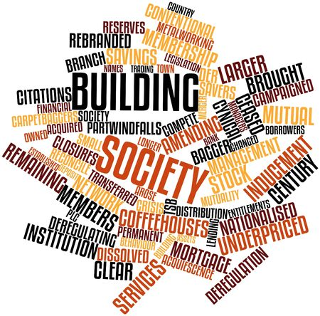 terminating: Abstract word cloud for Building society with related tags and terms