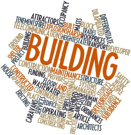 caravans: Abstract word cloud for Building with related tags and terms