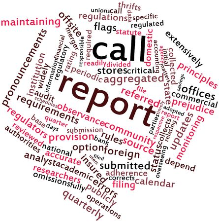 Abstract word cloud for Call report with related tags and terms Stock Photo