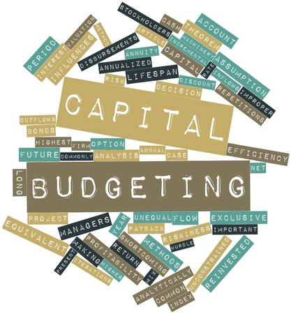 riskiness: Abstract word cloud for Capital budgeting with related tags and terms Stock Photo