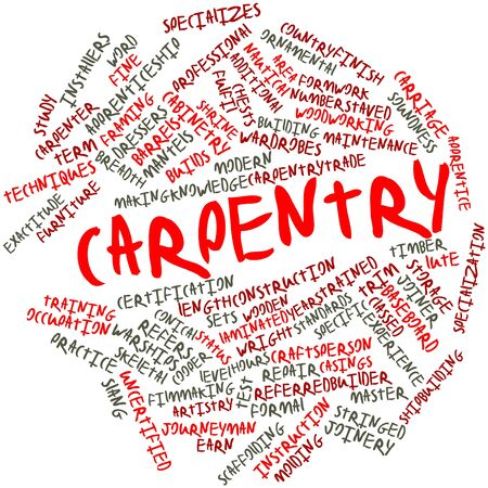 work area: Abstract word cloud for Carpentry with related tags and terms Stock Photo