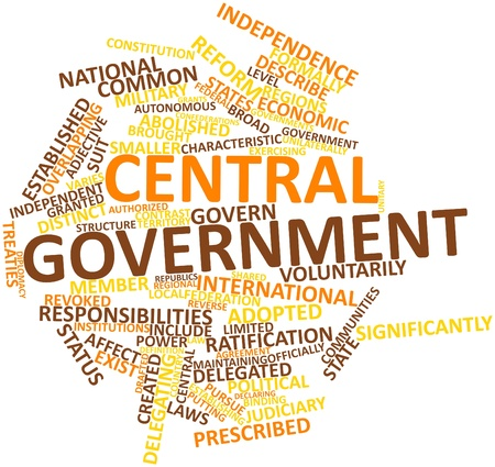 established: Abstract word cloud for Central government with related tags and terms Stock Photo