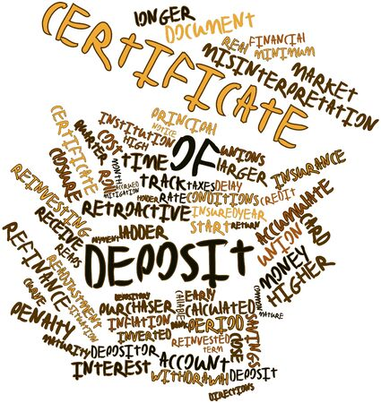 federally: Abstract word cloud for Certificate of deposit with related tags and terms