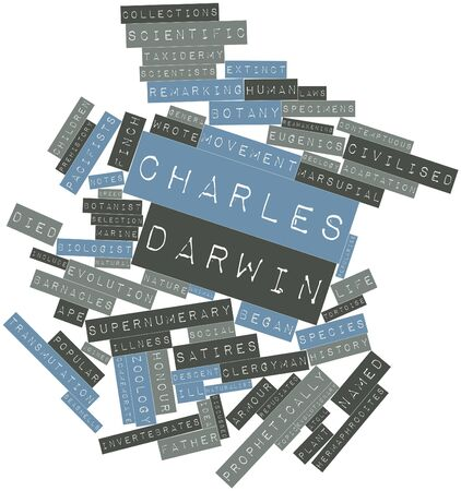 darwin: Abstract word cloud for Charles Darwin with related tags and terms