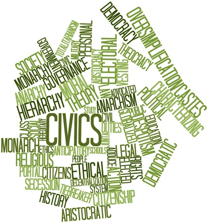 Abstract word cloud for Civics with related tags and terms