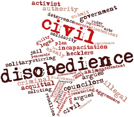 nonviolent: Abstract word cloud for Civil disobedience with related tags and terms