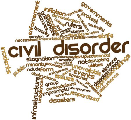 disruption: Abstract word cloud for Civil disorder with related tags and terms