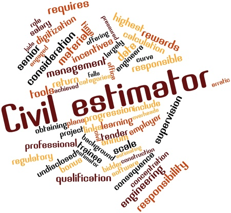 Abstract word cloud for Civil estimator with related tags and terms photo