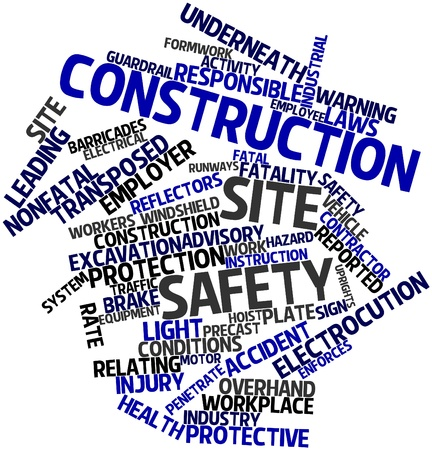 Abstract word cloud for Construction site safety with related tags and terms photo