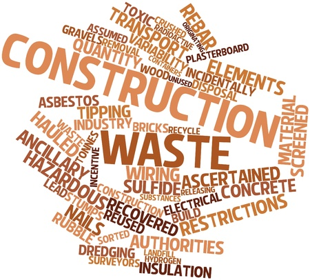 asbestos: Abstract word cloud for Construction waste with related tags and terms
