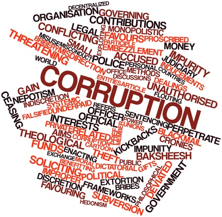extortion: Abstract word cloud for Corruption with related tags and terms