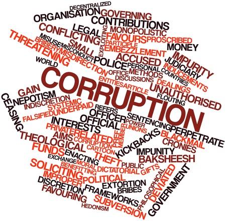 corrupcion: Nube palabra abstracta para la corrupción con las etiquetas y términos relacionados