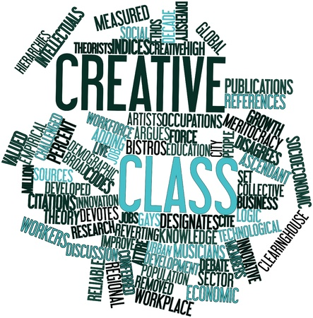 socioeconomic: Abstract word cloud for Creative class with related tags and terms Stock Photo