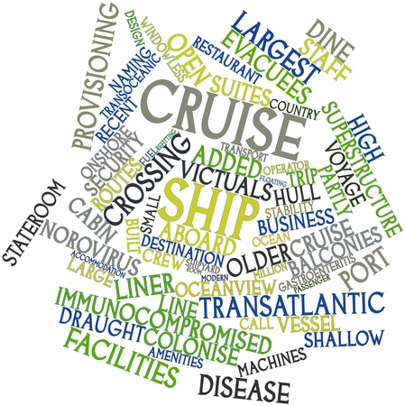 norovirus: Abstract word cloud for Cruise ship with related tags and terms