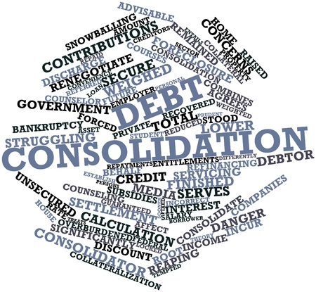 human settlement: Abstract word cloud for Debt consolidation with related tags and terms Stock Photo