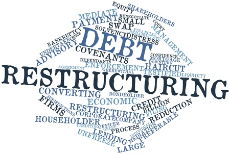 enforcement: Abstract word cloud for Debt restructuring with related tags and terms Stock Photo