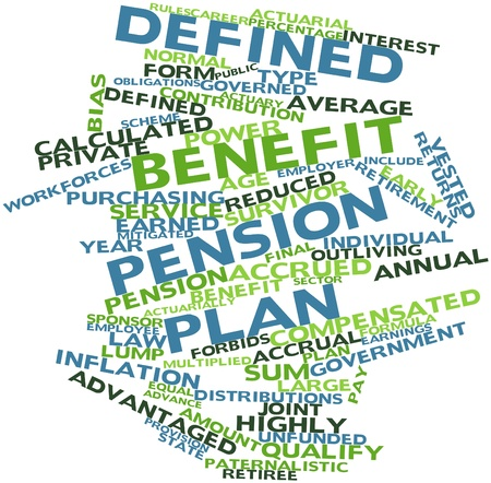 calculated: Abstract word cloud for Defined benefit pension plan with related tags and terms