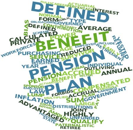 defined: Word cloud astratto per piano a benefici definiti con tag correlati e termini