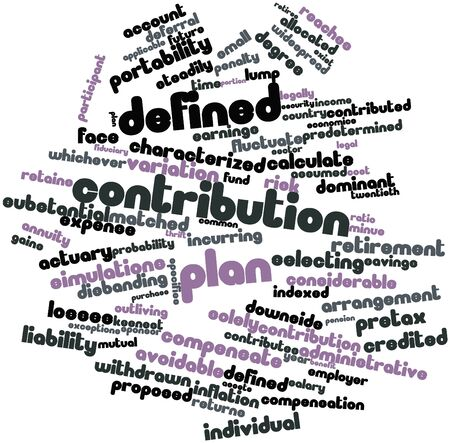 specifies: Abstract word cloud for Defined contribution plan with related tags and terms Stock Photo