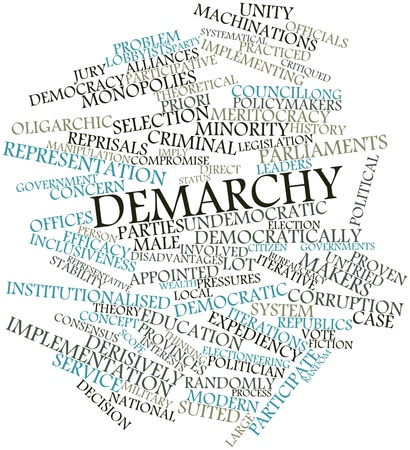 undemocratic: Abstract word cloud for Demarchy with related tags and terms