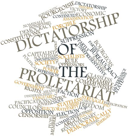 lop: Abstract word cloud for Dictatorship of the proletariat with related tags and terms Stock Photo