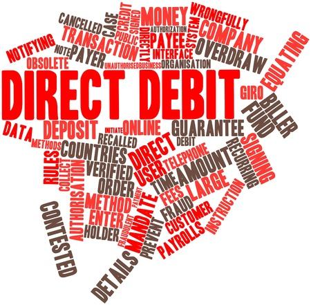 sumas: Nube palabra abstracta por d�bito directo con las etiquetas y t�rminos relacionados