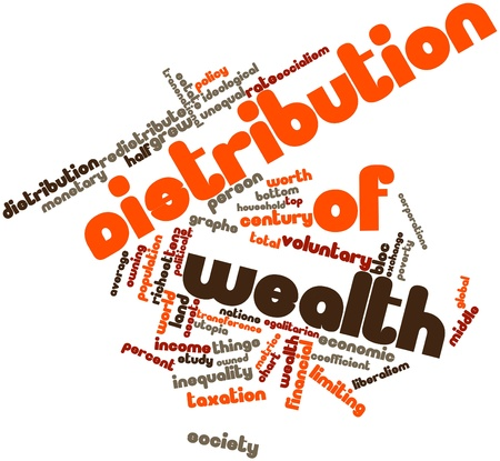 wage earners: Abstract word cloud for Distribution of wealth with related tags and terms Stock Photo