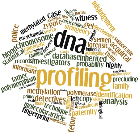 assays: Abstract word cloud for DNA profiling with related tags and terms Stock Photo