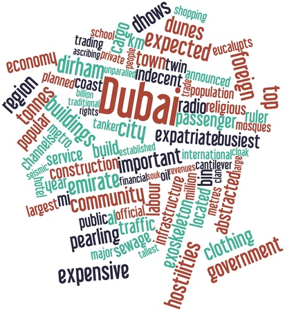 chaired: Abstract word cloud for Dubai with related tags and terms