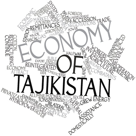 strontium: Abstract word cloud for Economy of Tajikistan with related tags and terms Stock Photo