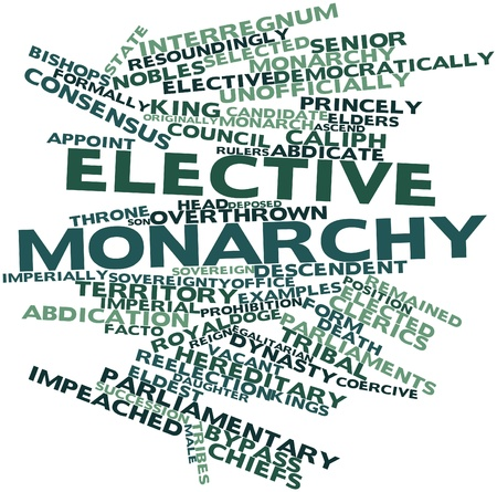 democracies: Abstract word cloud for Elective monarchy with related tags and terms