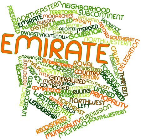 deposed: Abstract word cloud for Emirate with related tags and terms Stock Photo